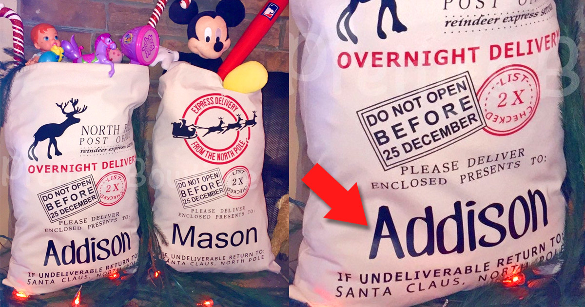 Personalized Named Gift Sacks From Santa
