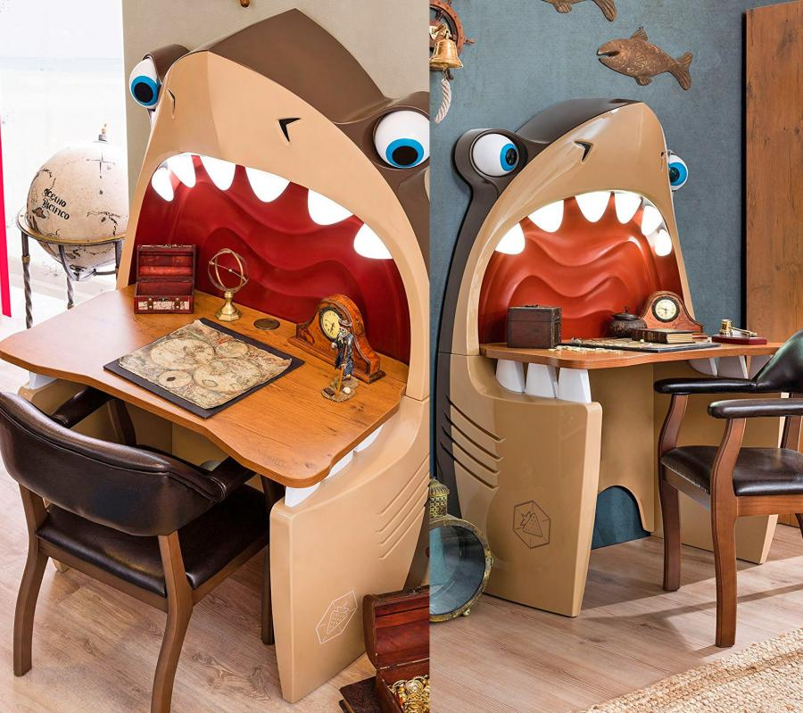 Pirate Shark Kids Desk With Light Up Teeth And Rolling Eye