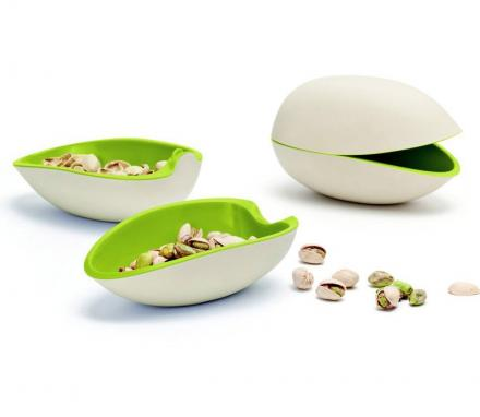 Pistachio Bowl Gives You One Bowl For The Nuts, One Bowl For The Shells