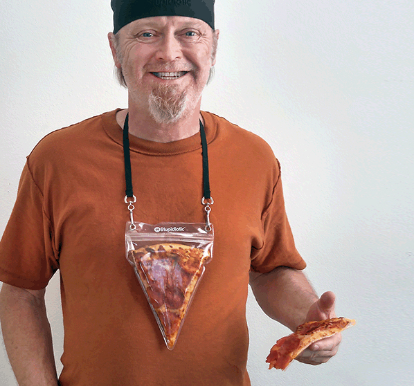 Portable Pizza Pouch A Pizza Slice Holding Lanyard