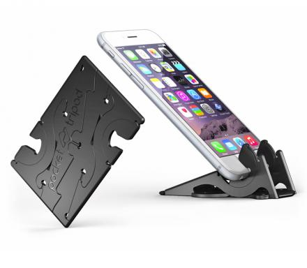 This Phone Stand Folds Down To Fit In Your Wallet