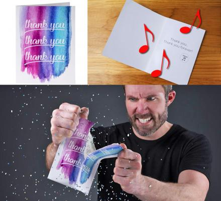 Prank Thank You Card Plays Endless Music, a Glitter Bomb Explodes If You Try To Destroy It
