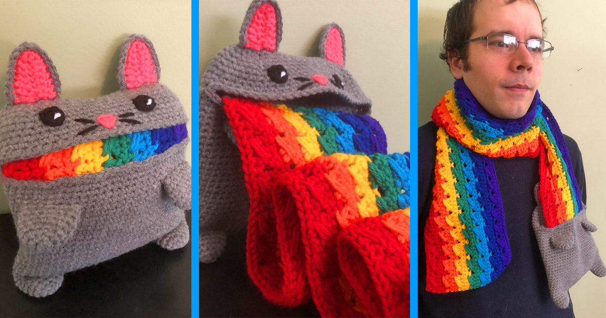 Puking Rainbow Cat Scarf