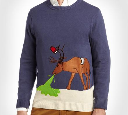 Puking Reindeer Ugly Christmas Sweater