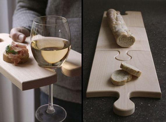 The bamboo puzzle piece cutting board comes in a set of two and is great  for when you are serving hors d'oeuvres at a party along with a glass of  wine.