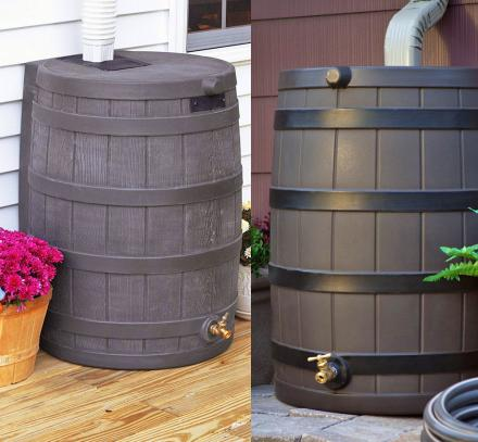 Whiskey Barrel Rain Barrel Connects Right To Your Gutter Downspout