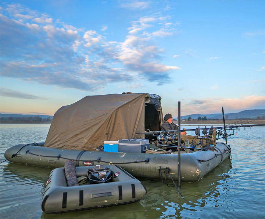 this giant floating fishing platform lets you camp on the