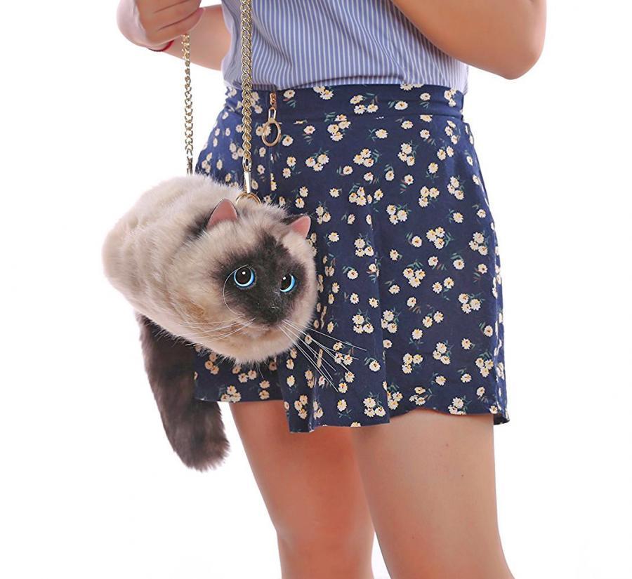 Realistic Cat Body Shoulder Bag Purse Enlarge Image