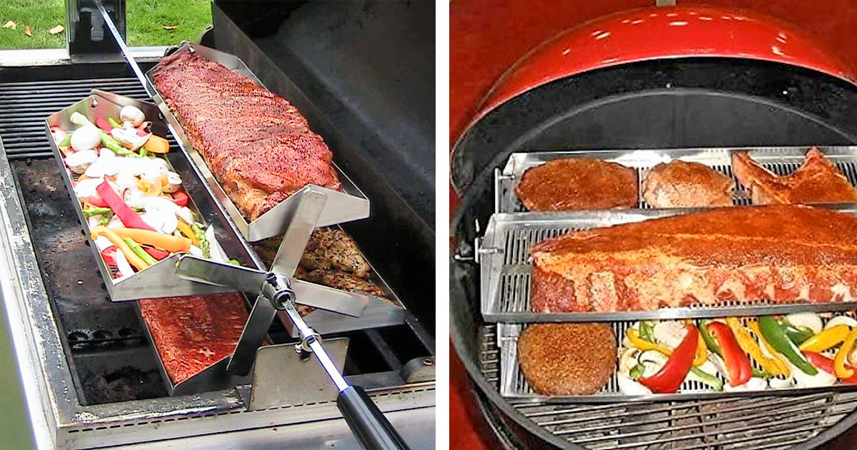 The Rib-O-Lator Turns Your Grill Into a Rotisserie Barbecue
