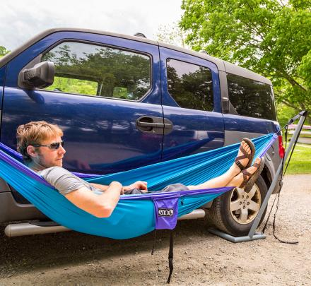 Roadie Hammock Stand Uses Your Car To Hold Up a Hammock
