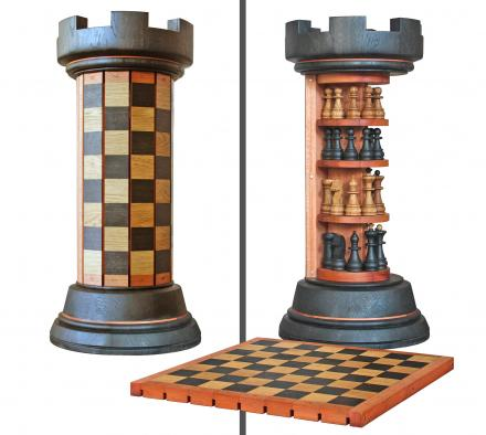 Rook Tower Pack-away Wooden Chess Board