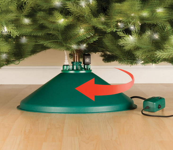 the spinning christmas tree stand is a christmas tree stand that will rotate your tree so that all sides of your beautifully decorated tree are viewable - Cheap Christmas Tree Stands