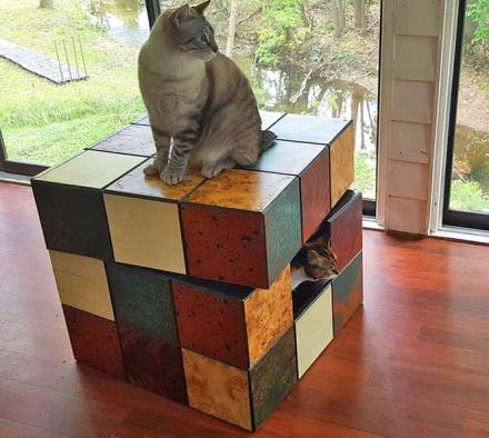 Rubik's Cube Table Cat Bed