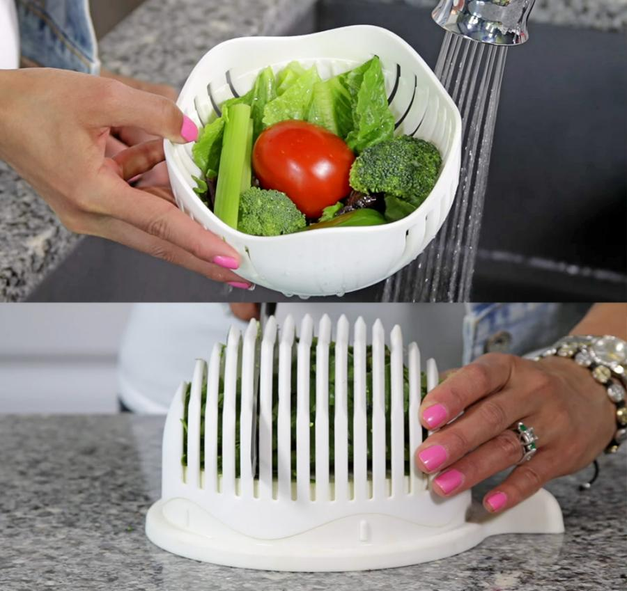3 In 1 Salad Chopper Lets You Rinse Chop And Serve