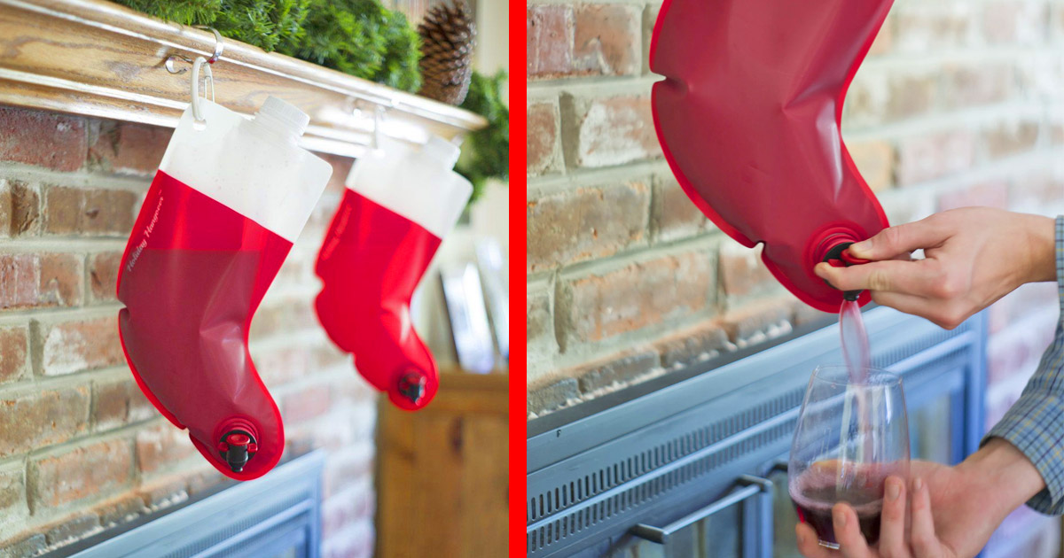 This Santa Stocking Wine Flask Should Be The Only Stocking On Your Fireplace If You Have No Kids