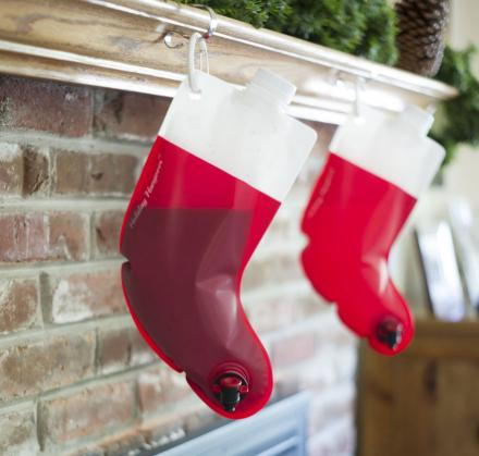 Santa's Stocking Flask: A Stocking Shaped Wine Bag With Nozzle
