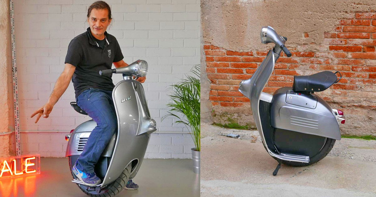 Self-Balancing Mono-Wheel Scooter Made To Look Like a Vespa