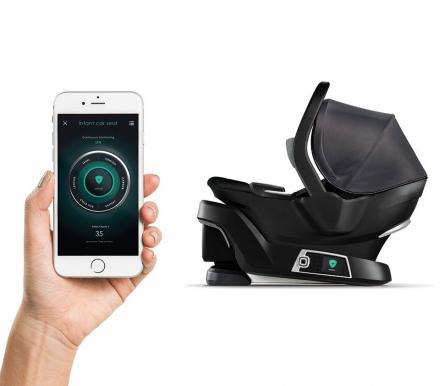 Self-Installing Smart Baby Car Seat That Connects To Smart Phone To Verify