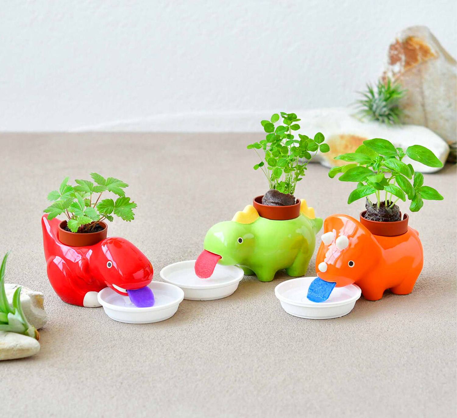 These Self Watering Dinosaur Planters Slurp Up Their Water As They Need It