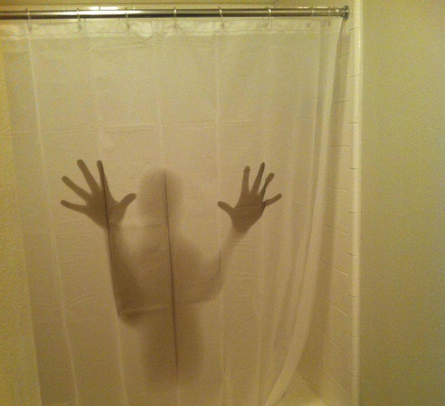 Make Your Wife Scream Bloody Murder Every Time She Goes To The Bathroom Scary Shower Curtain Looks As If There Is A Rapist Hiding In