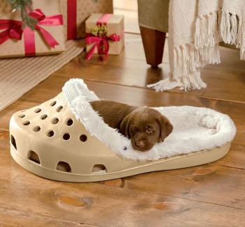 There's A Shoe Shaped Dog Bed That Exists For Dogs That Love Slippers
