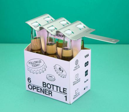 SIXOVERONE: A Six-Pack Bottle Opener - Opens 6 Bottles at a Time