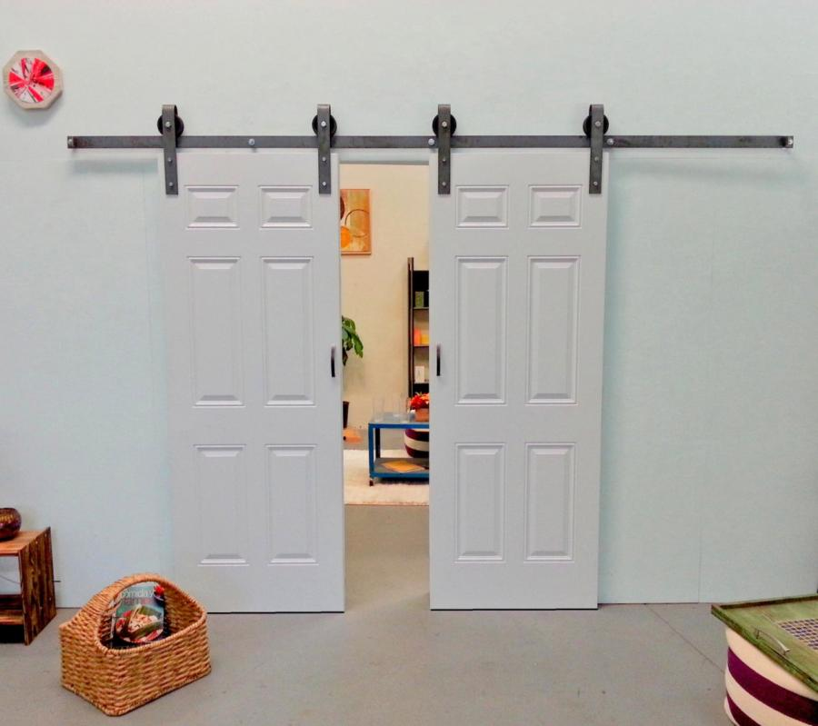 Door kit white metal fancy door kit for Sliding double doors