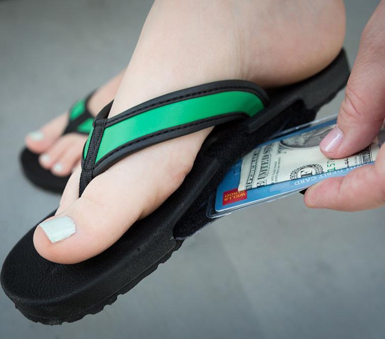 Slotflops Flip Flop Sandals With A Secret Stash Slot For