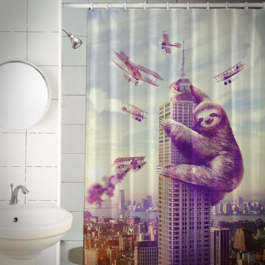 Christmas shower curtains on ebay - Slothzilla Shower Curtain Enlarge Image
