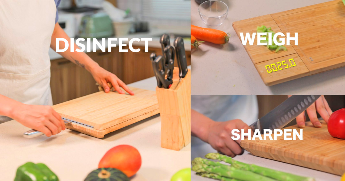 This Incredible Smart Cutting Board Has A Built In Scale Timer Knife Sharpener And Sterilizer