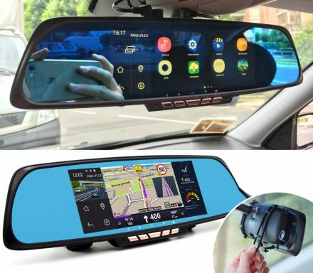 Smart Rear-View Mirror With Integrated Dash Cam, Touchscreen and GPS Navigation