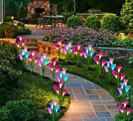 These Solar Powered Lily Flower Lights Are The Cutest Way To Light Up Your Yard