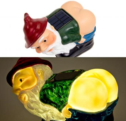 Solar Powered Light Up Mooning Gnome