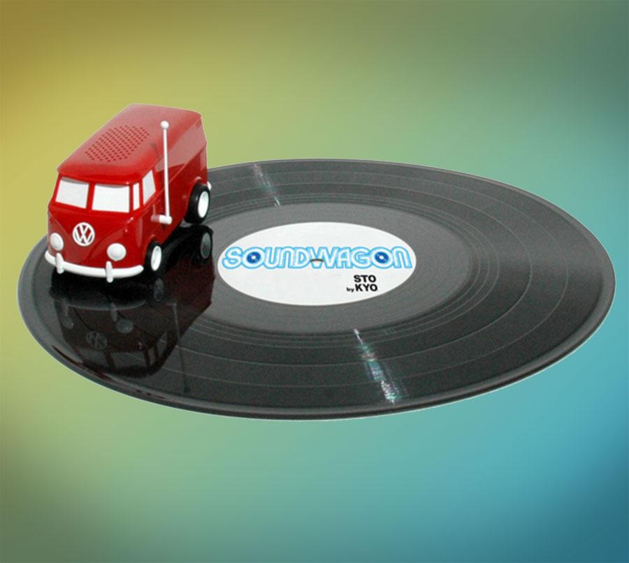 record van portable playing hippy volkswagen play drive needle music around tweet odditymall