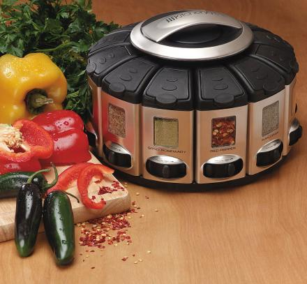 This Awesome Spinning Spice Rack Carousel Has An Auto Measuring Feature For Each Spice
