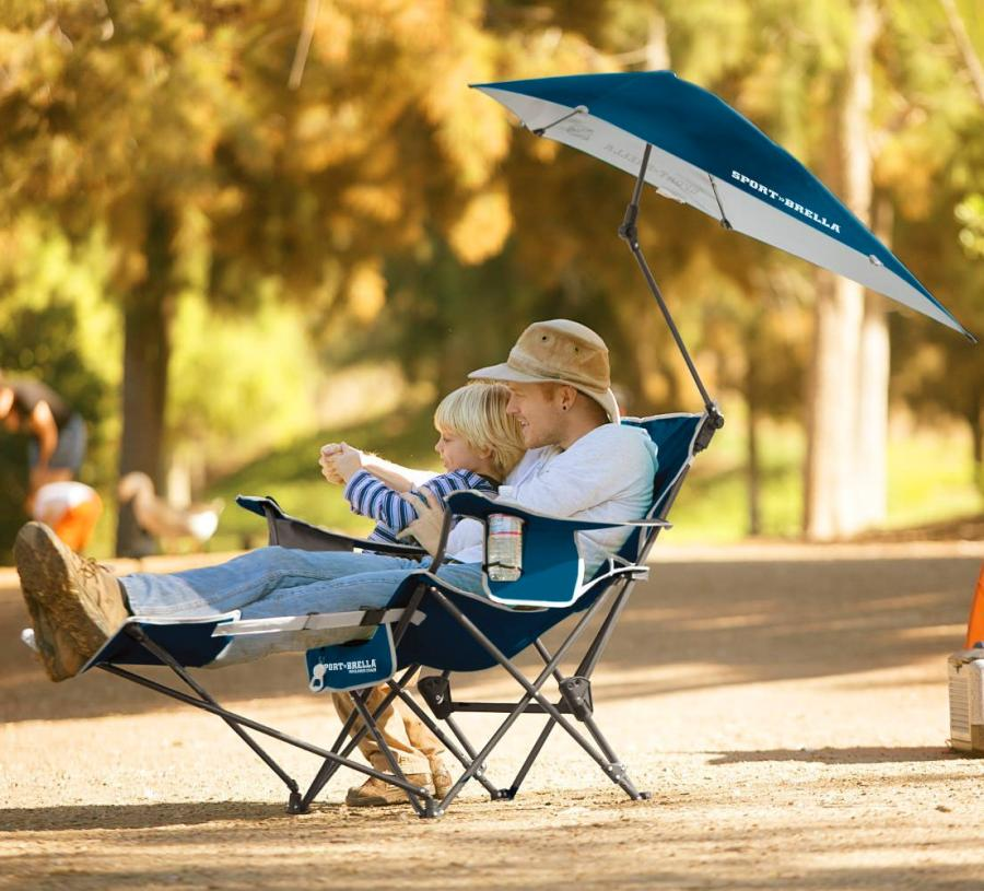 Sport Brella Reclining Camping Chair With Attached Umbrella