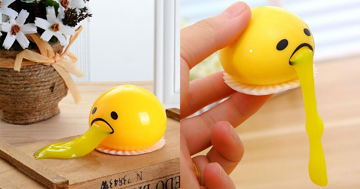 This Squishy Puking Egg Yolk Stress Ball With Yellow Goop Is The Ultimate Time-Waster