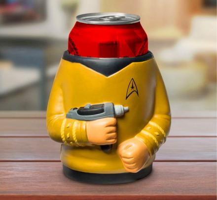Star Trek Captain Kirk Holding Phaser Beer Koozie