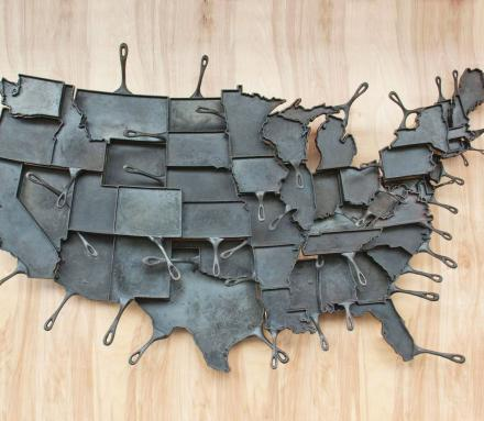 State Shaped Cast Iron Skillet Pans