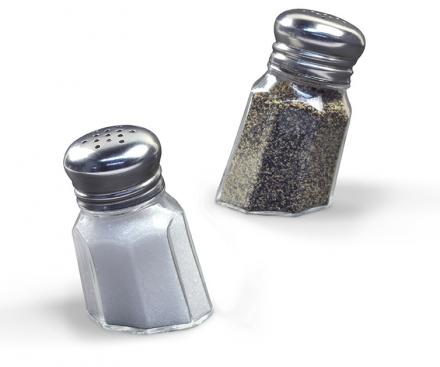 Sunk-In Salt and Pepper Shakers Look Like They're Sinking Into The Table