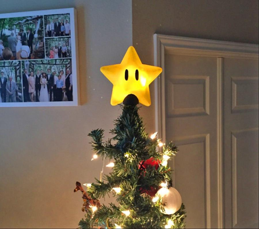 Super Mario Bros Power Star Christmas Tree Topper