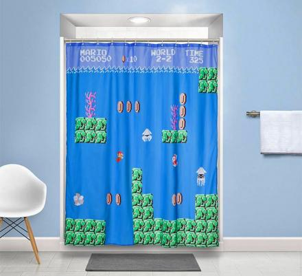 Super Mario Underwater Level Shower Curtain