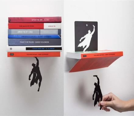 SuperShelf: A Book Shelf That Makes It Look Like Superman Is Holding Up Your Books