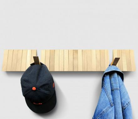Switchboard: A Sleek Wooden Coat Rack With 25 Optional Hooks
