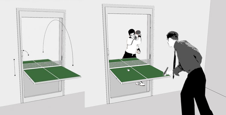 Table Tennis Door Door That Folds Down Into A Ping Pong