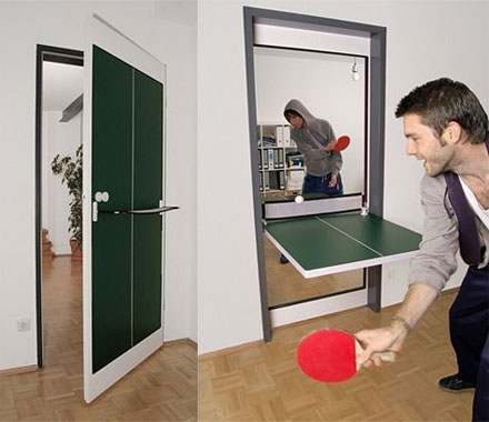 Table Tennis Door - Door That Folds Down Into a Ping Pong Table