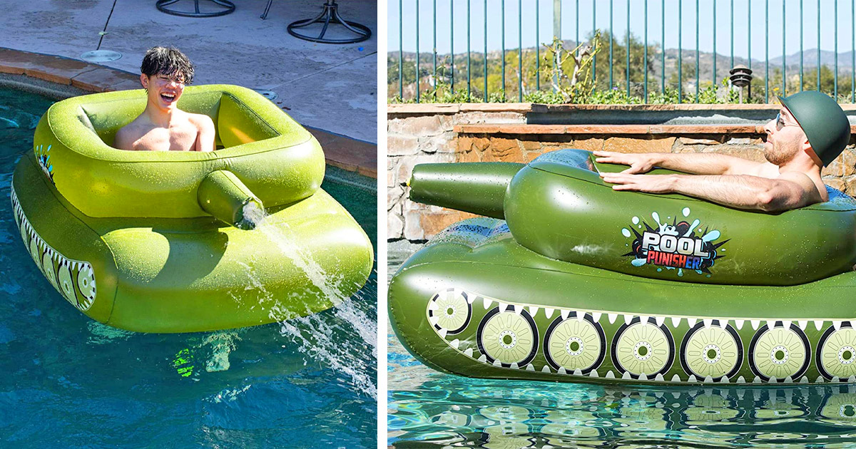 You Can Now Get a Tank Shaped Pool Float With an Actual Working Water Cannon