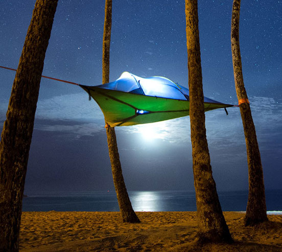 ... Hammock Tent That Connects To Three Trees Enlarge Image - Tentsile Tree Tent: A Hovering Hammock Tent That Connects To Three