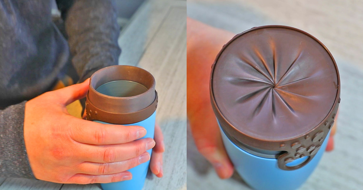 The Butt Cup: A Travel Mug With a Twisting Silicone Lid Like an Aperture