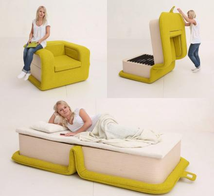 The FLOP Multi-functional Arm Chair Instantly Turns Into a Bed